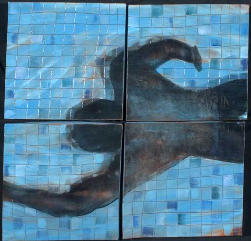 """Swimmer in Quarters"" terra cotta with silk screened images by Michael Pfleghaar"