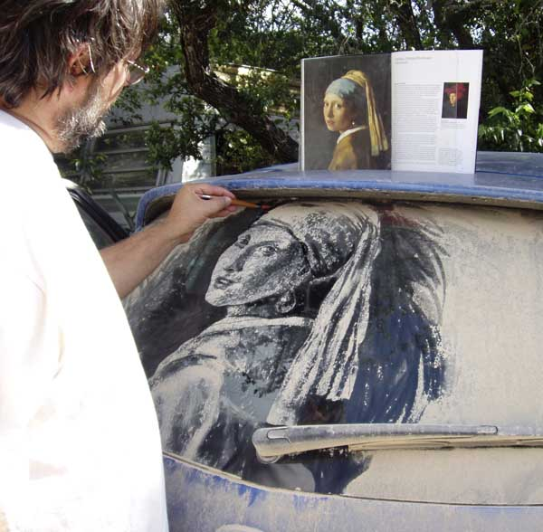 "Dirty Car Artist, Scott Wade, recreates Johannes Vermeer's ""Girl with a Pearl Earring""."